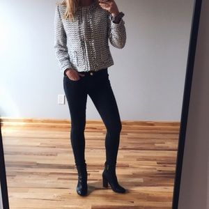 tweed salt + pepper blazer